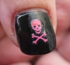 Piratnagel i rosa och svart