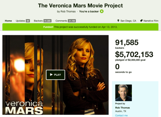Skärmdump Veronica Mars The Movie Project @ Kickstarter.com