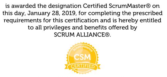 Certifikat: Certified ScrumMaster